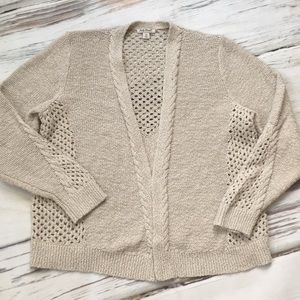 Lucky Brand Tan Cardigan Sweater Open Front 1X